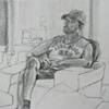 Steve Nordwick Watching TV, Santa Ana, from Sketchbook No. 19