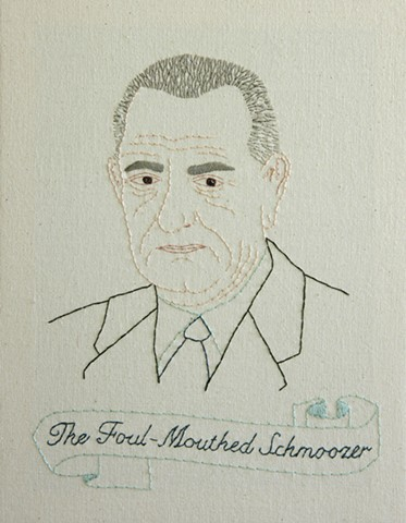 #36 Lyndon B. Johnson embroidery fiber art US Presidents american history