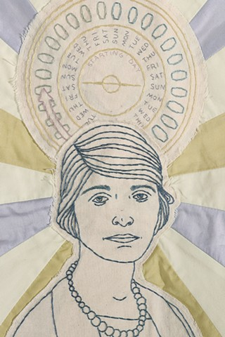 Margaret Sanger portrait Planned Parenthood embroidery fiber art feminist american history women's rights