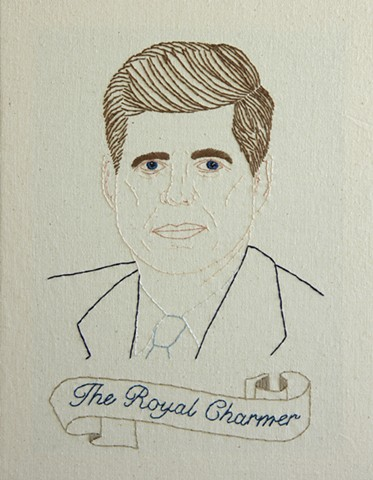 #35 John F. Kennedy embroidery fiber art US Presidents american history