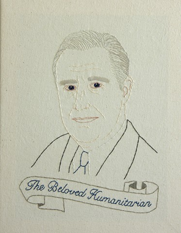 #32 Franklin D. Roosevelt embroidery fiber art US Presidents american history