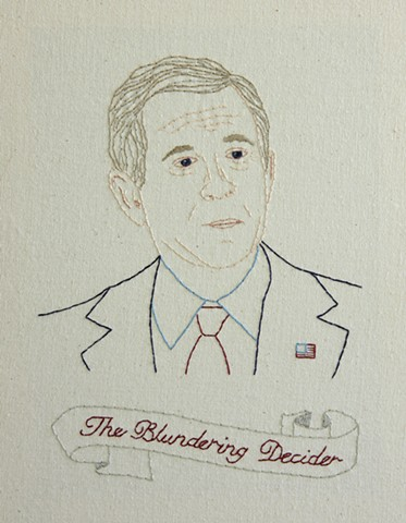 George W. Bush embroidery fiber art US Presidents american history