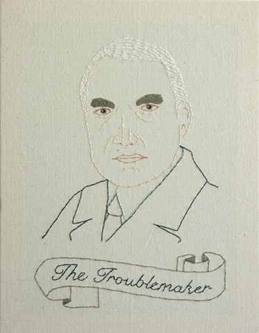 #29 Warren G Harding embroidery fiber art US Presidents american history