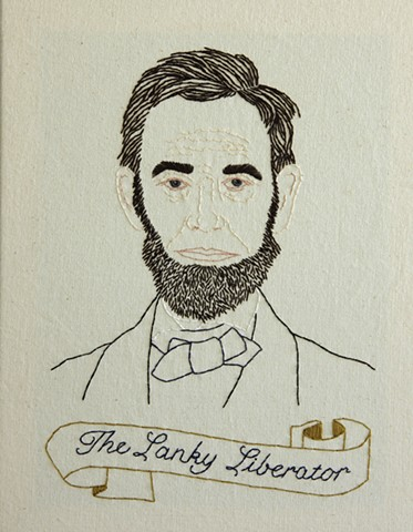 Abraham Lincoln embroidery fiber art US Presidents american history