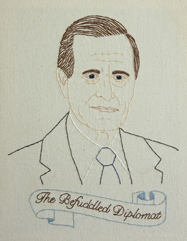 George H.W. Bush embroidery fiber art US Presidents american history