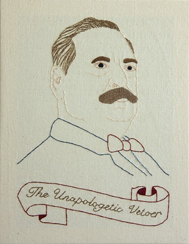 Grover Cleveland embroidery fiber art US Presidents american history