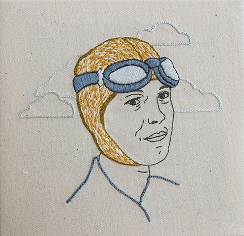 Amelia Earhart fiber art embroidery feminist women in history aviation American History