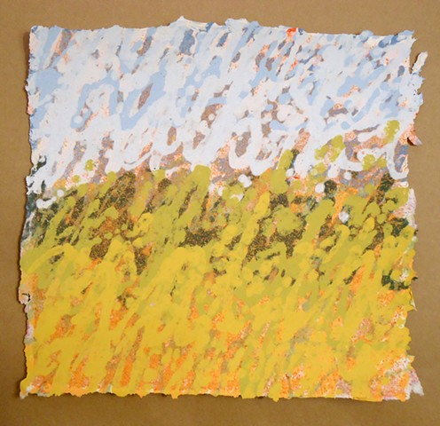 abstract landscape pulp painting