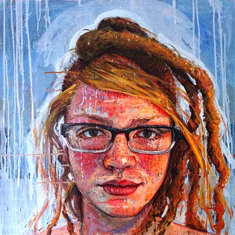 mohawk, portrait, face, head, painting, Matthew Ivan Cherry, art, artist, dreads, dreadlocks