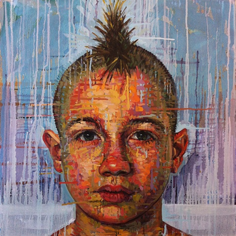 mohawk, portrait, boy, face, head, painting, Matthew Ivan Cherry