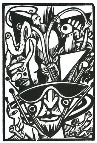 automatic imagery inspired woodcut