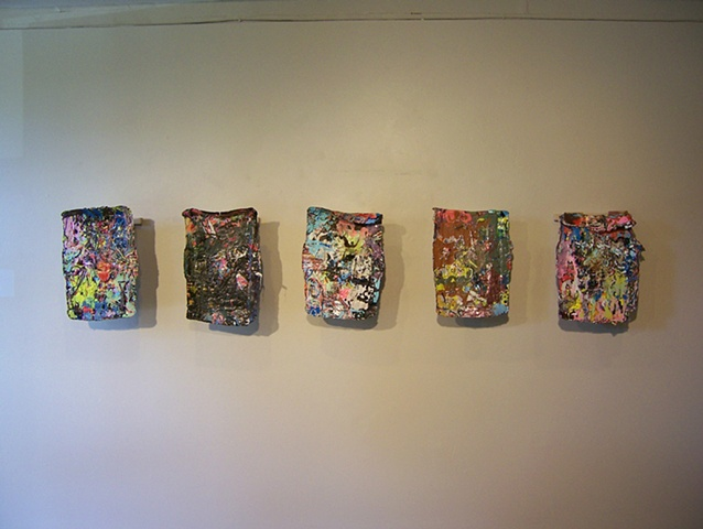 Acrylic paint, canvas scraps, studio detritus