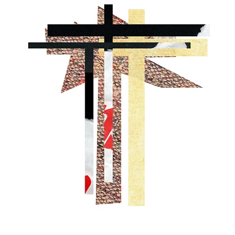 Digital photographic collage, digital pigment print of cross, collage, spiritual