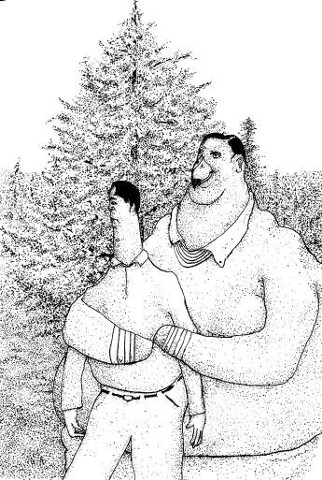 bird-man holding a human with pine tree.