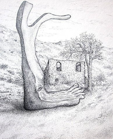 foot with branches next to ruins in mountains