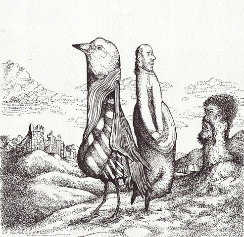 bird with man-mountain castle