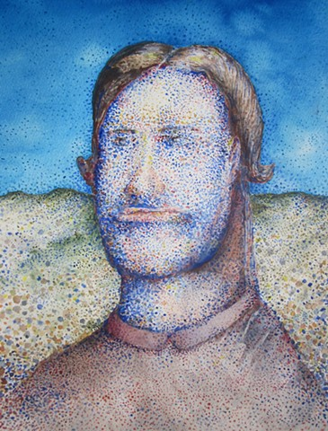 watercolor, pointilistic, man, portrait, colored-dots