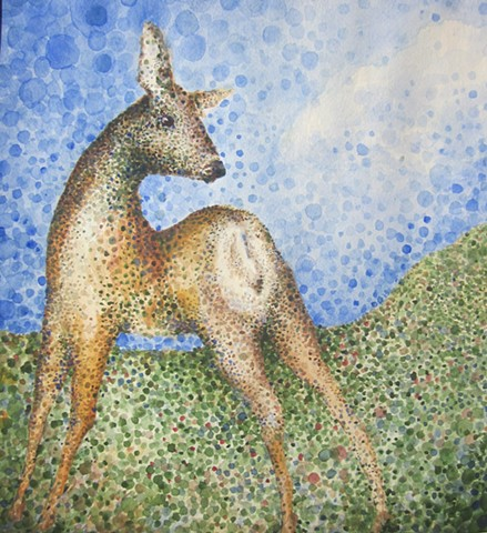 deer pointilism dots watercolor
