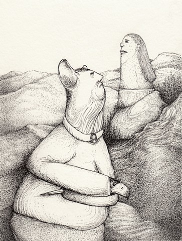 mouse man birds hands woman statue pen and ink