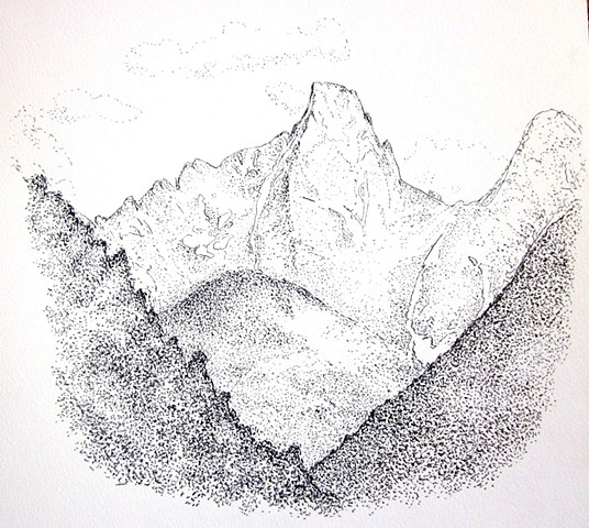 San Juan mountains, pigeon peak, weminuche needles turrett pen and ink