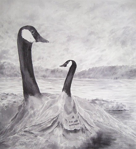 canada goose surreal creation ink wash