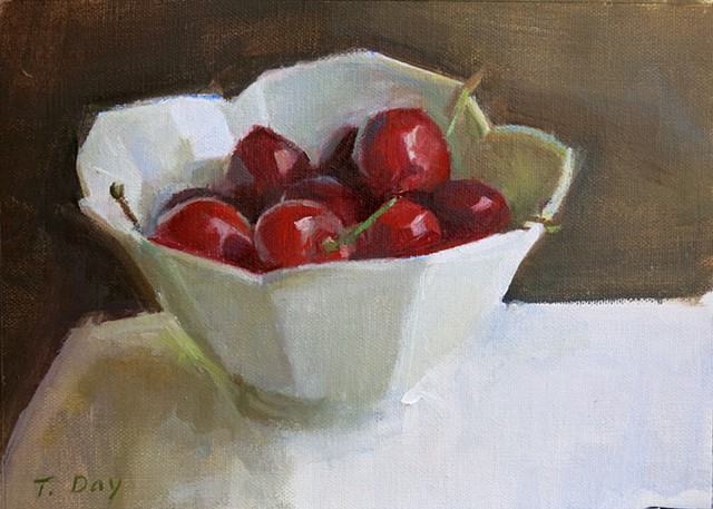 Cherries in a White Bowl