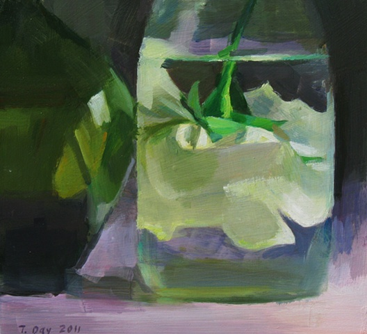 Submerged Rose and Green Bottle