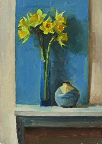 Daffodils and Blue Construction Paper