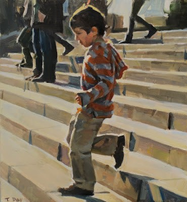 Boy in Stripes, Art Museum Steps