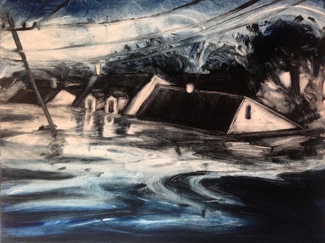 monotype, storm, house, water, flood, landscape
