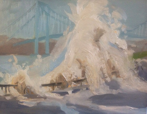 landscape, storm, climate change, painting, verazzano bridge, new york painting