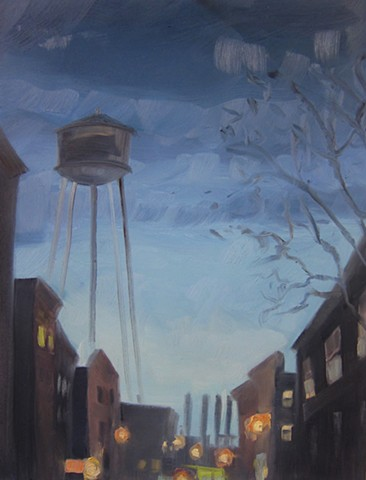 urban landscape, nyc, brooklyn, new york city, paintings, greenpoint, water tower