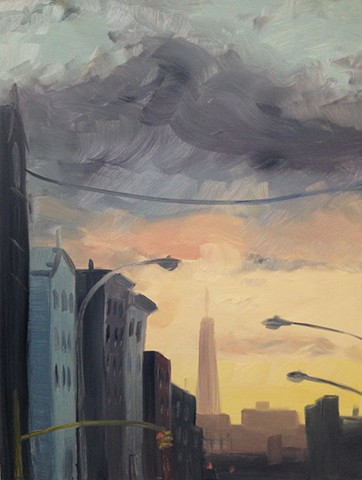 urban landscape, nyc, brooklyn, new york city, paintings, greenpoint, trade tower