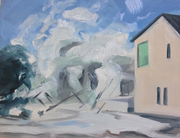 painting, landscape, storm, flood, climate change, hurricane, wave