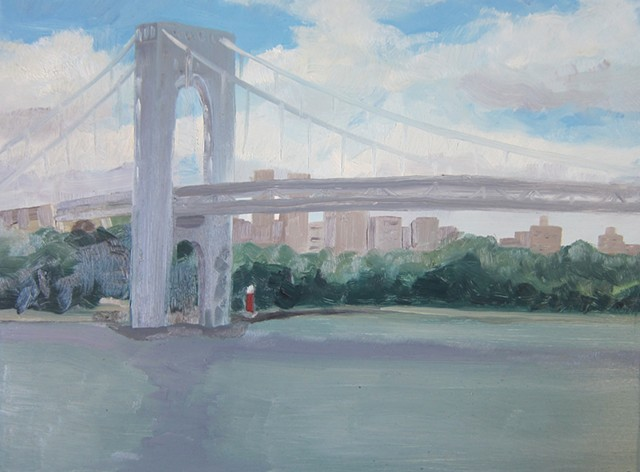 landscape, nyc, urban landscape, oil painting, Hudson River, George Washington Bridge, plein air