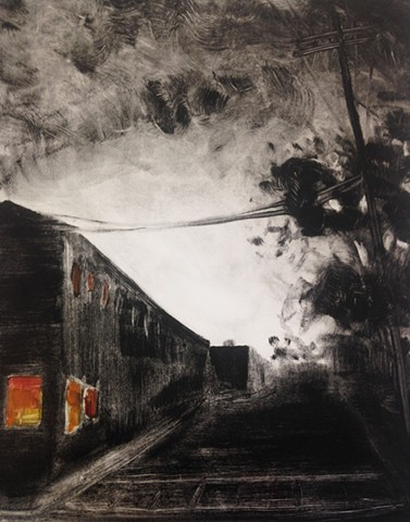 monotype, landscape, brooklyn print, New york landscape