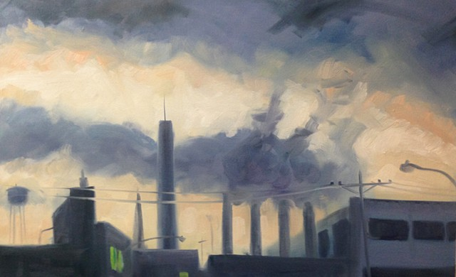 urban landscape, oil painting, cityscape, new york landscape