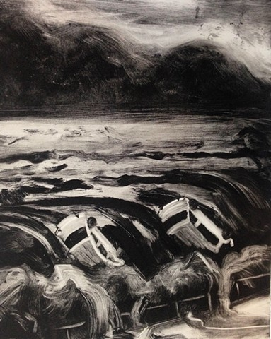 monotype, landscape, climate art, flood