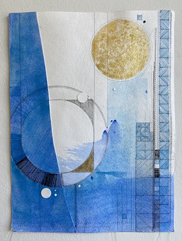 original, unframed abstract collage on paper with watercolor, acrylic, ink and pencil