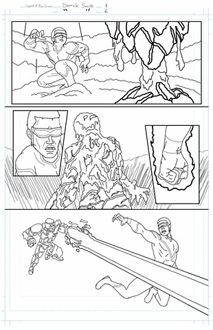 """The Legend of Blue Cosmic"" issue 1, page 6 pencils"