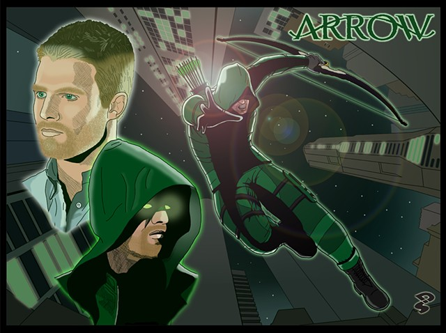 "A tribute illustration piece to the series ""Arrow."""