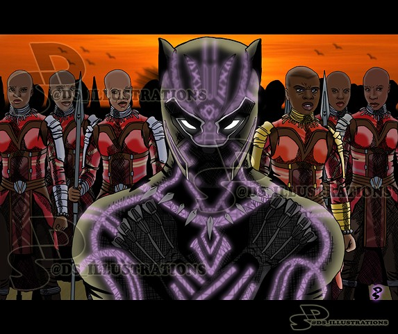 Comic Illustration of Black Panther and the Dora Milaje