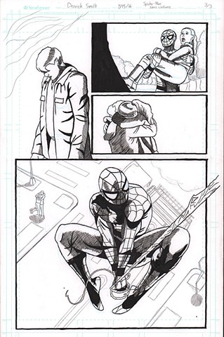 "MCU's ""Spider-Man"" saving civilians. Page 3 of 3 Black and White"