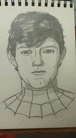 Tom Holland close-up as Spider-Man