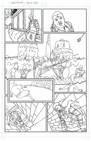 """The Legend of Blue Cosmic"" issue 1, page 1 pencils"