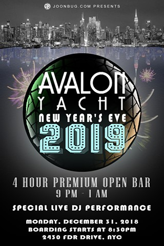 Promotional flier for Avalon Yacht New Year's Eve 2018 Party