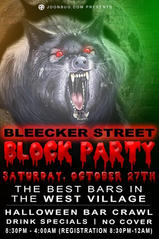 Promotional flier for Bleecker Street Halloween 2018 Block Party