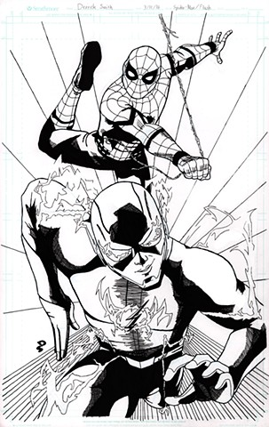 Spider-Man and the Flash (black and white)