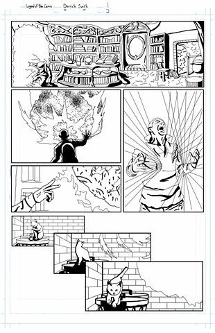 """The Legend of Blue Cosmic"" issue 1, page 2 inks"