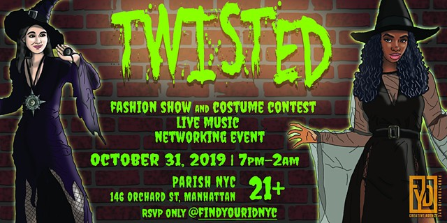 """Twisted"" Halloween 2019 promotional banner for FYID NYC"
